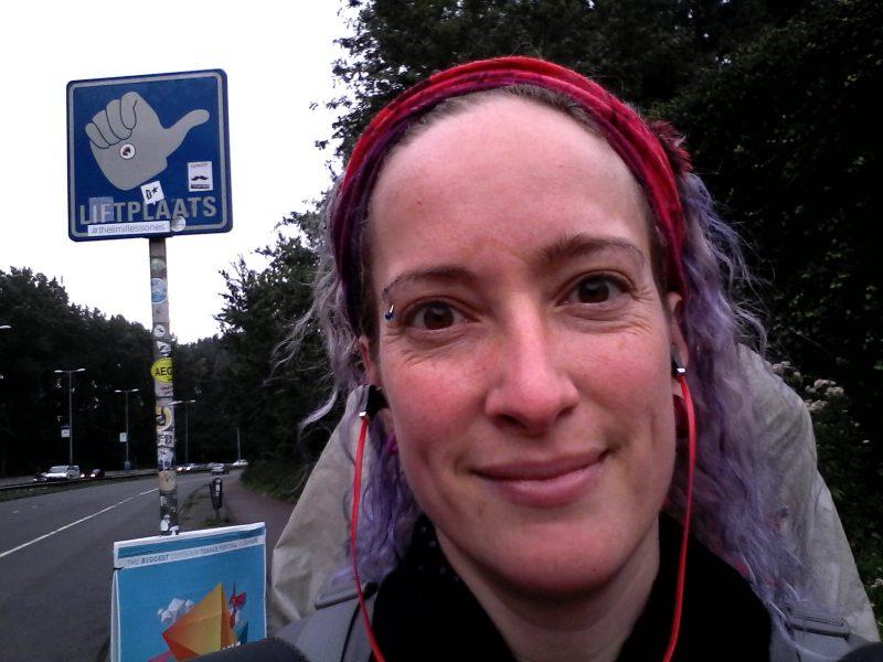panneau d'autostop d'Amsterdam vers Utrecht