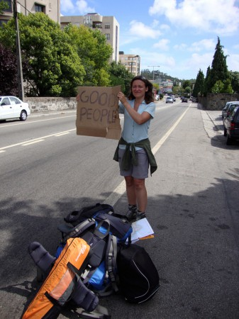 Ania hitchhiking in Portugal