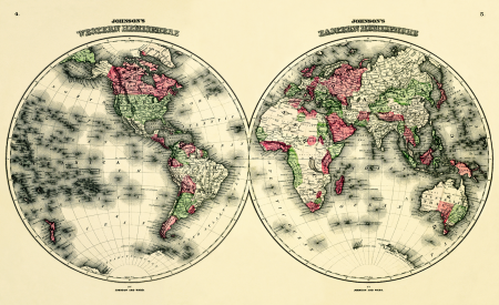 Antique-World-Map-Eastern-Western-Hemispheres1876-long-goodbye