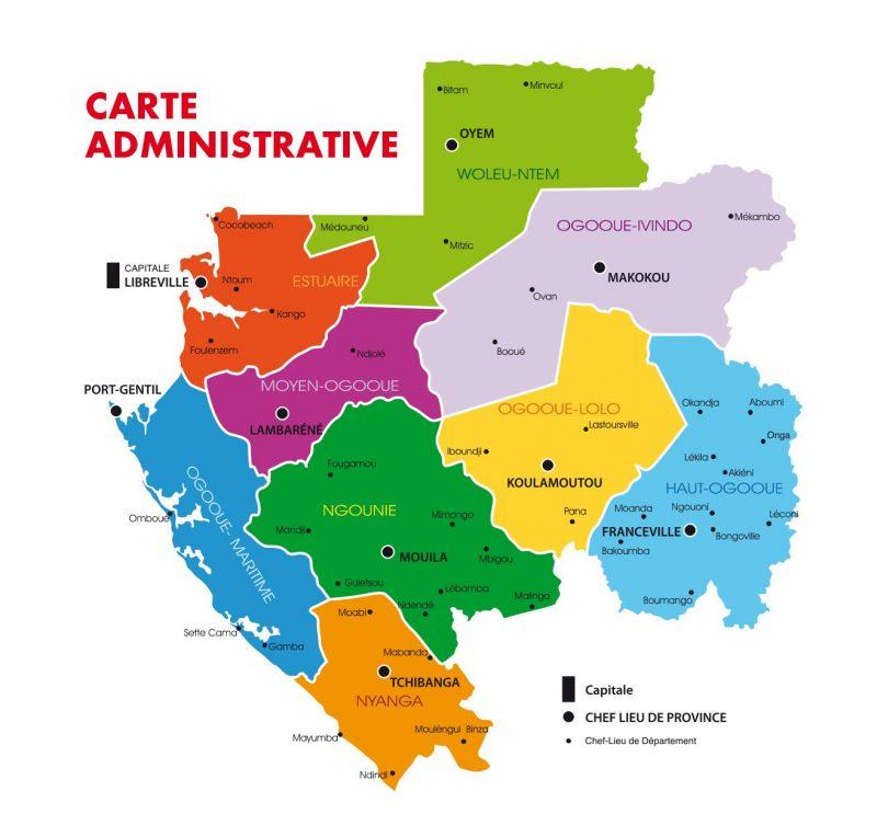 Carte administrative du Gabon