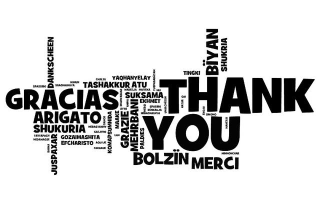 Merci en de nombreuses langues