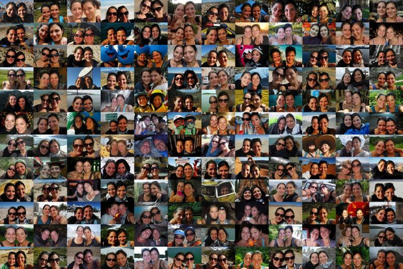 mosaique de photos des deux soeurs Amélie et Marion Laurin dans leur voyage aux Amériques