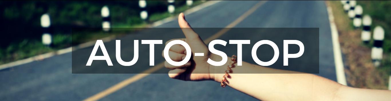 Auto-stop écrit sur un fond de pouce tendu