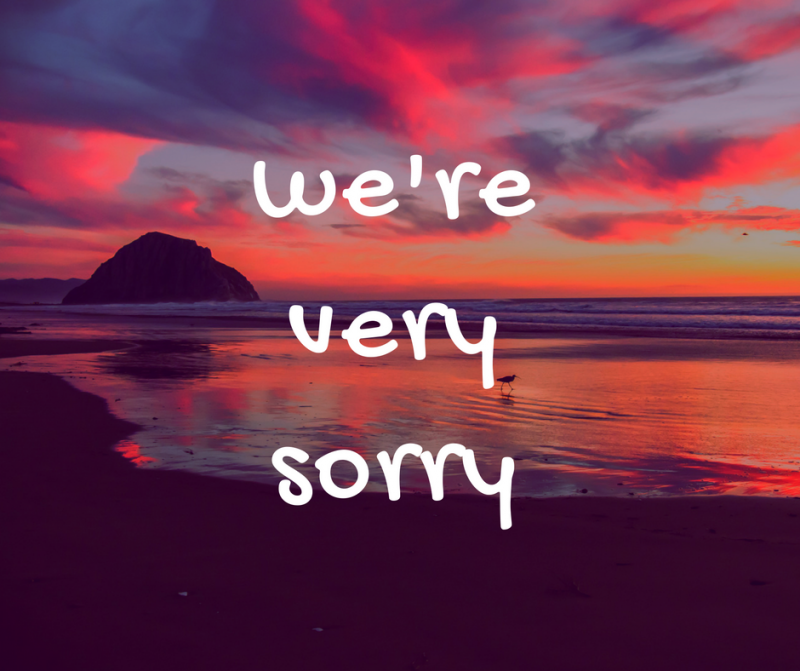 we're very sorry written on a beautiful landscape
